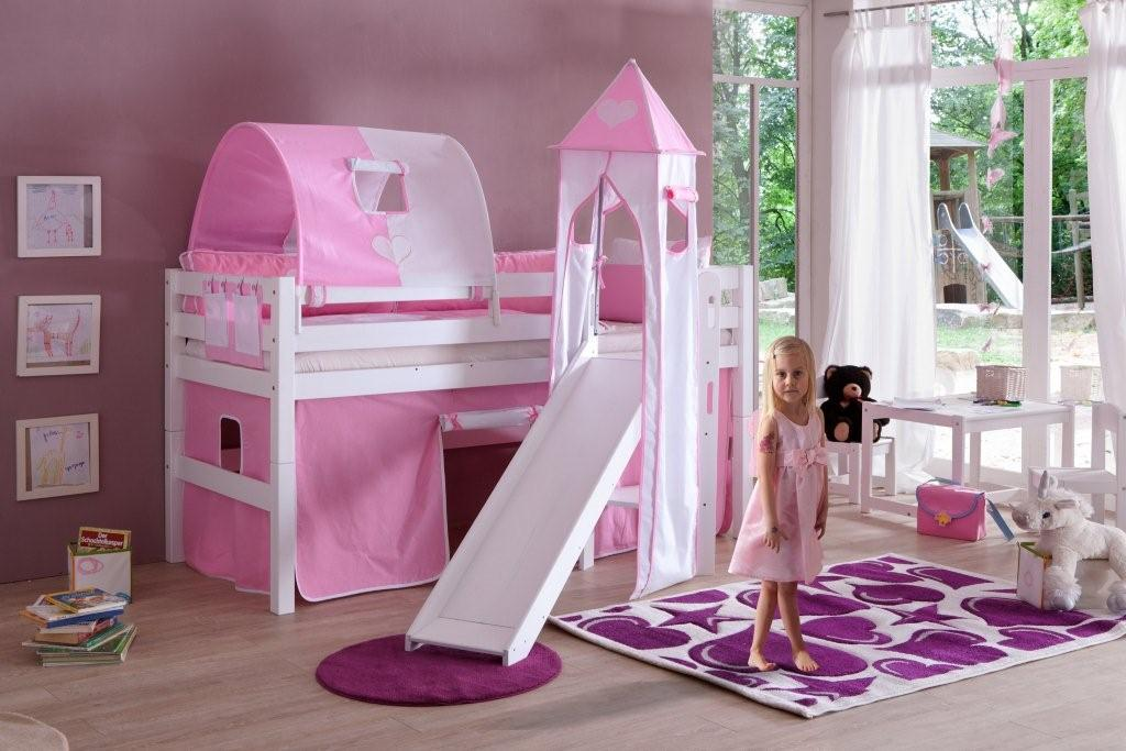 Eliyas halfhoogslaper roze wit - Roze kinderkamer ...