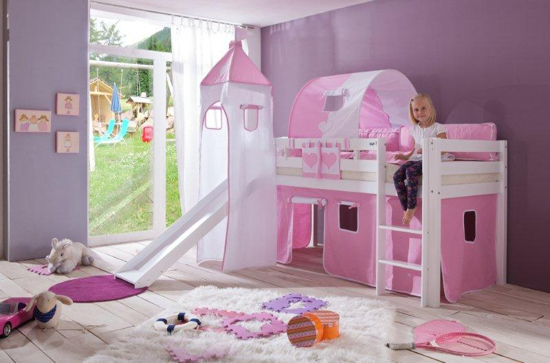alex halfhoogslaper met glijbaan wit roze incl toren speeltent tunnel opbergtas. Black Bedroom Furniture Sets. Home Design Ideas