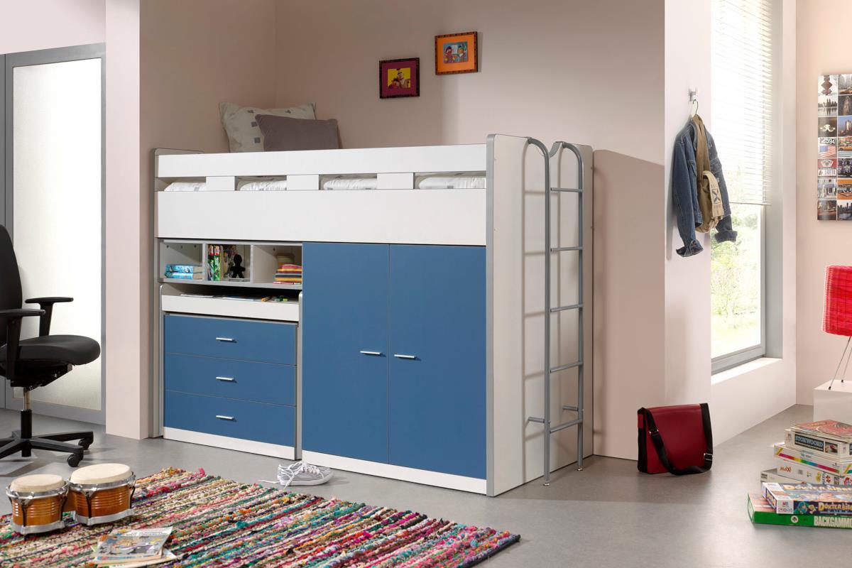 Bonny halfhoogslaper met kast en bureau  wit/blauw