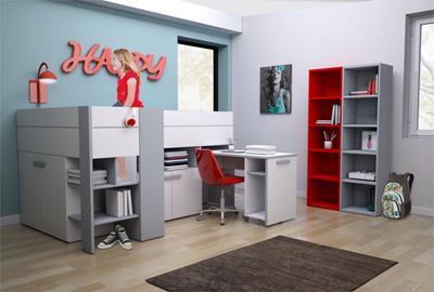 Halfhoogslapers met bureau, kast en/of glijbaan | Meubelzone