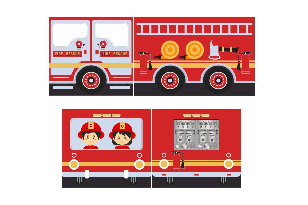 Speelgordijnenset Fire Truck