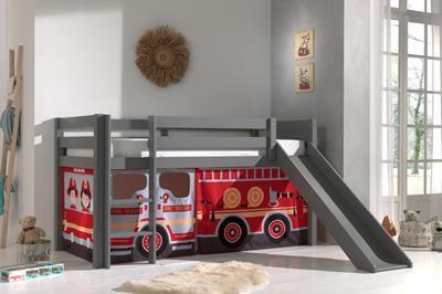 Pino halfhoogslaper grijs met glijbaan speelgordijnenset Fire Truck sfeerimpressie