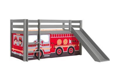 Pino halfhoogslaper grijs met glijbaan speelgordijnenset Fire Truck