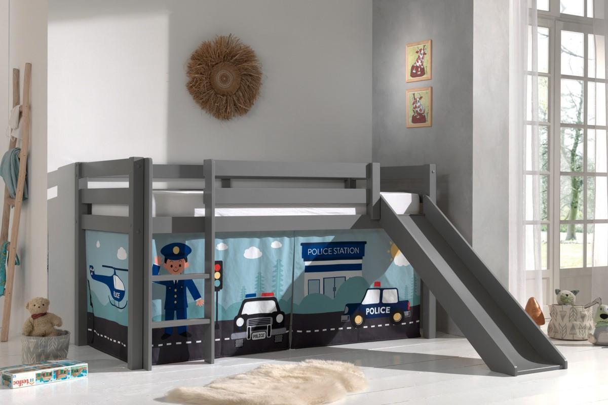 Pino halfhoogslaper grijs met glijbaan speelgordijnenset Police sfeerimpressie