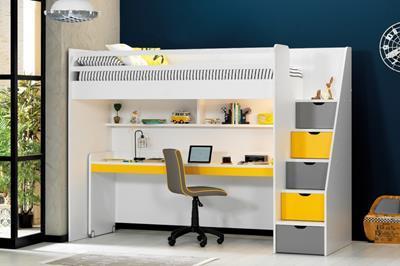 Neo grijs/geel/wit hoogslaper met groot bureau