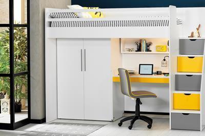 Neo grijs/geel/wit hoogslaper met smal bureau en kledingkast