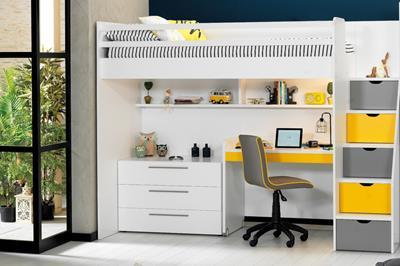Neo grijs/geel/wit hoogslaper met smal bureau en ladekast