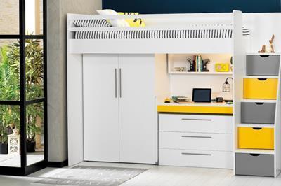 Neo grijs/geel/wit hoogslaper met smal bureau, ladekast en kledingkast