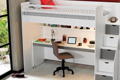 Neo grijs/wit hoogslaper met groot bureau