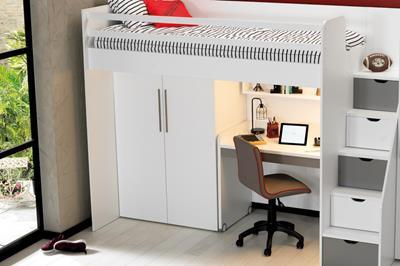 Neo grijs/wit hoogslaper met smal bureau en kledingkast