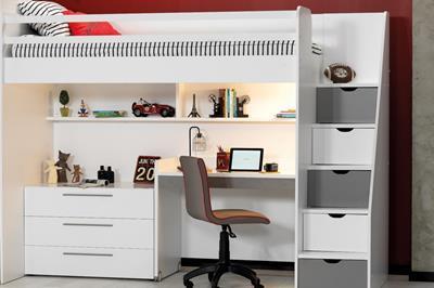 Neo grijs/wit hoogslaper met smal bureau en ladekast