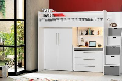 Neo grijs/wit hoogslaper met smal bureau, ladekast en kledingkast