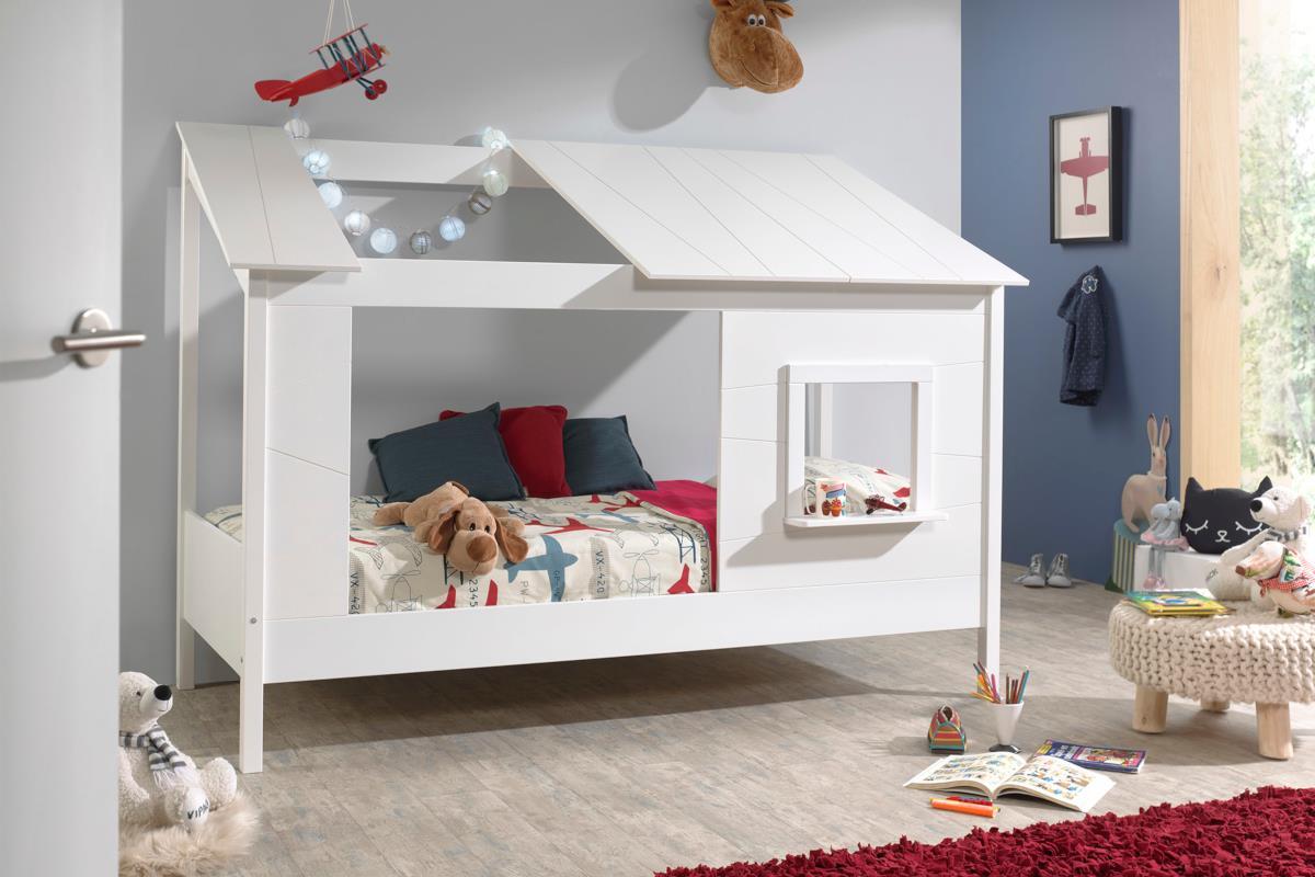 Huisbed met wit dak met opening links