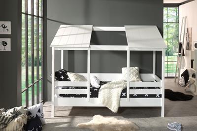 Huisbed met wit dak met opening midden