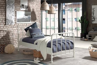 Bronxx metalen bed mat wit