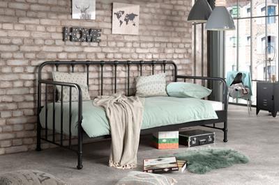 Bronxx metalen bedbank mat zwart