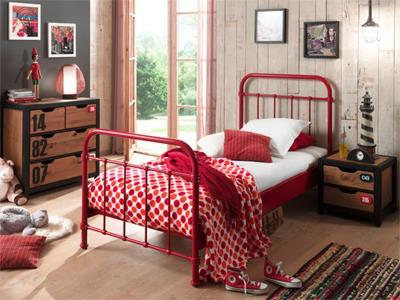 New York Metalen Kinderbed 90/200 Rood