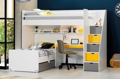 Neo grijs/geel/wit hoekstapelbed inclusief slaaplade en smal bureau