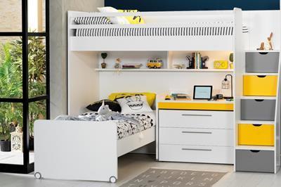 Neo grijs/geel/wit hoekstapelbed inclusief slaaplade, ladekast en smal bureau