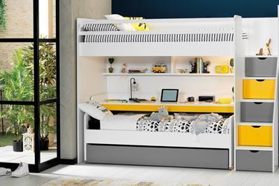 Neo grijs/geel/wit stapelbed inclusief slaaplade en groot bureau