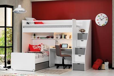 Neo grijs/wit hoekstapelbed inclusief slaaplade en smal bureau