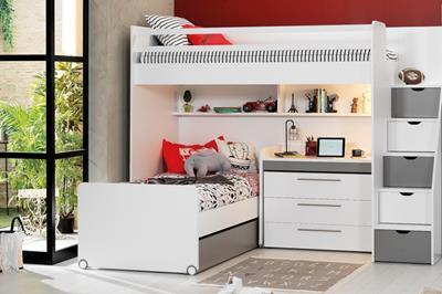 Neo grijs/wit hoekstapelbed inclusief slaaplade, ladekast en smal bureau