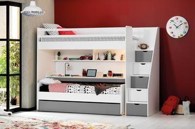 Neo grijs/wit stapelbed inclusief slaaplade en groot bureau