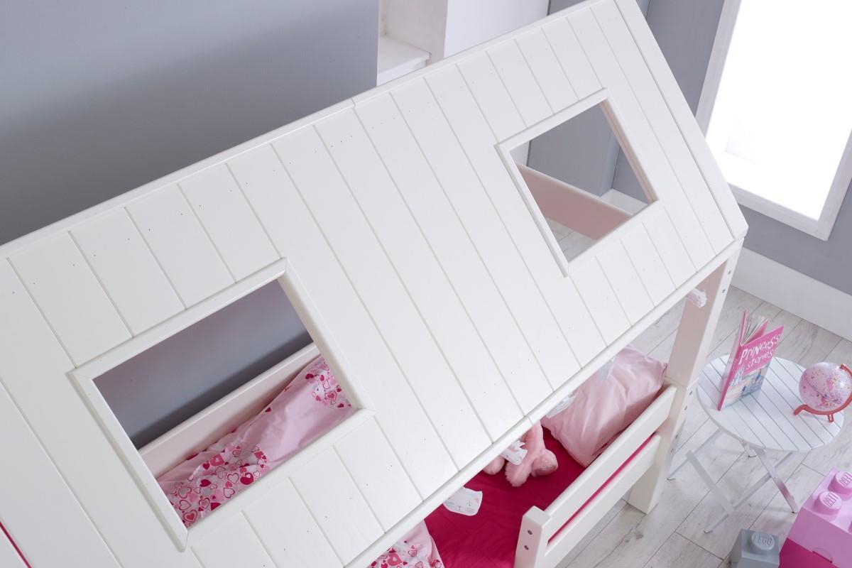 Nova hutbed laag roze aangekleed buitenkant dak